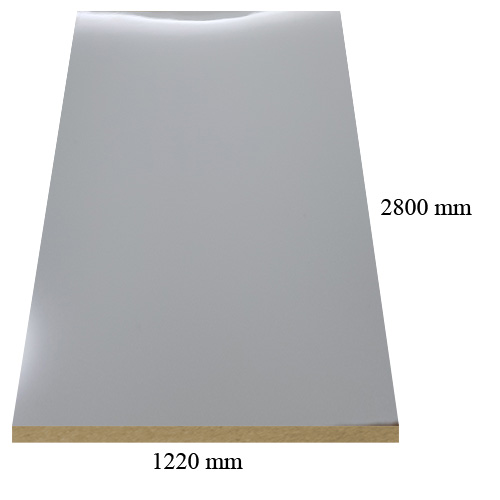 1167 Light grey high gloss - PVC coated 18 mm MDF