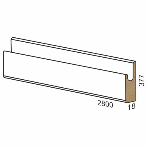 377 mm MDF panel dug handle – 300 matte White