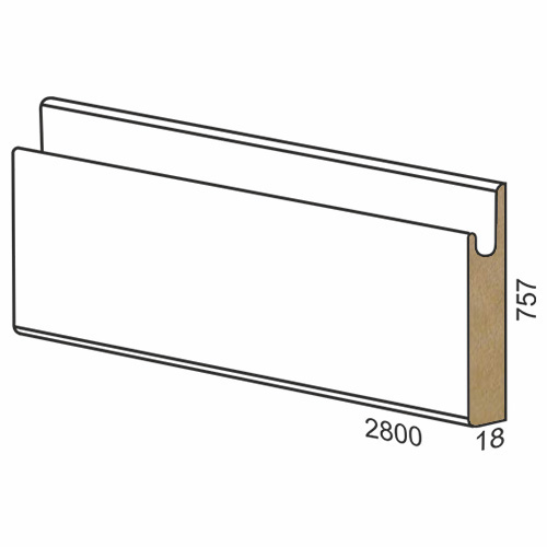 757 mm MDF panel dug handle - 300 matte White