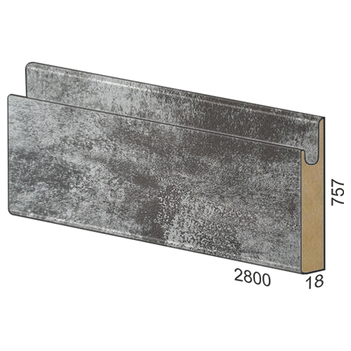 757 mm MDF panel dug handle - 164 Premium Silver
