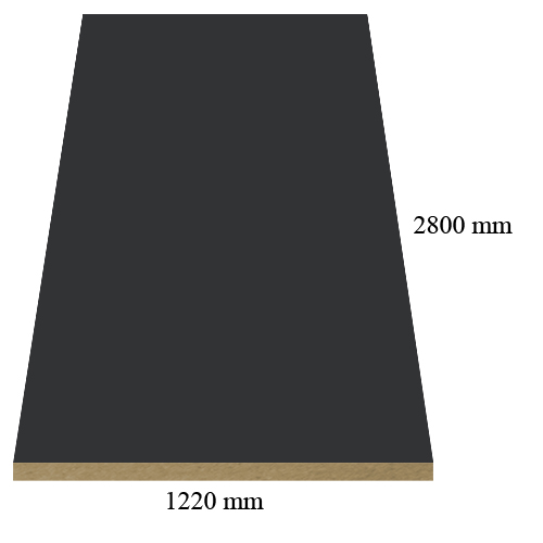 307 Velvet anthracite - super matte - PVC coated 18 mm MDF