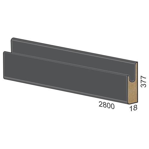 377 mm MDF panel dug handle – 310 matte Grey