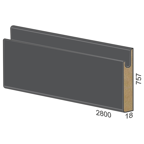 757 mm MDF panel dug handle - 310 matte Grey