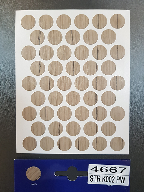 4667 K002 Grey craft oak – Self adhesive covers ø14 mm