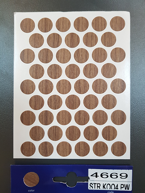 4669 K009 Dark select walnut – Self adhesive covers ø14 mm