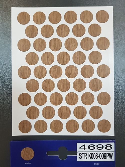 4698 K008 Light select walnut – Self adhesive covers ø14 mm