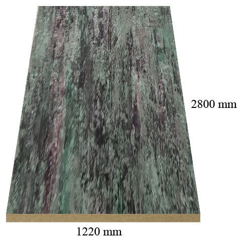 4 – 530 Green marble high gloss - PVC coated 18 mm MDF