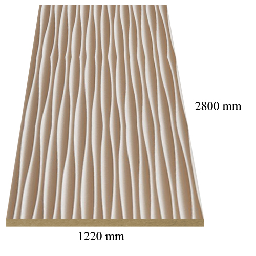 6177 Gold white waves high gloss - PVC coated 18 mm MDF