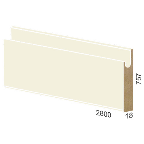 757 mm MDF panel dug handle - 845 high gloss Bianco