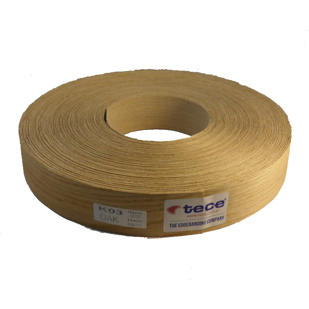 Pre-glued veneer edge band Oak 44mm - Tece K03